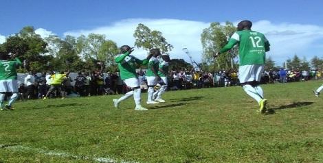 Onduparaka FC players jubilating after levelling the game.